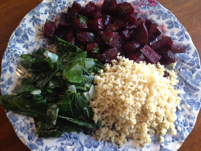 Beets with collard greens and millet